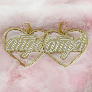 Angel earrings baby pink