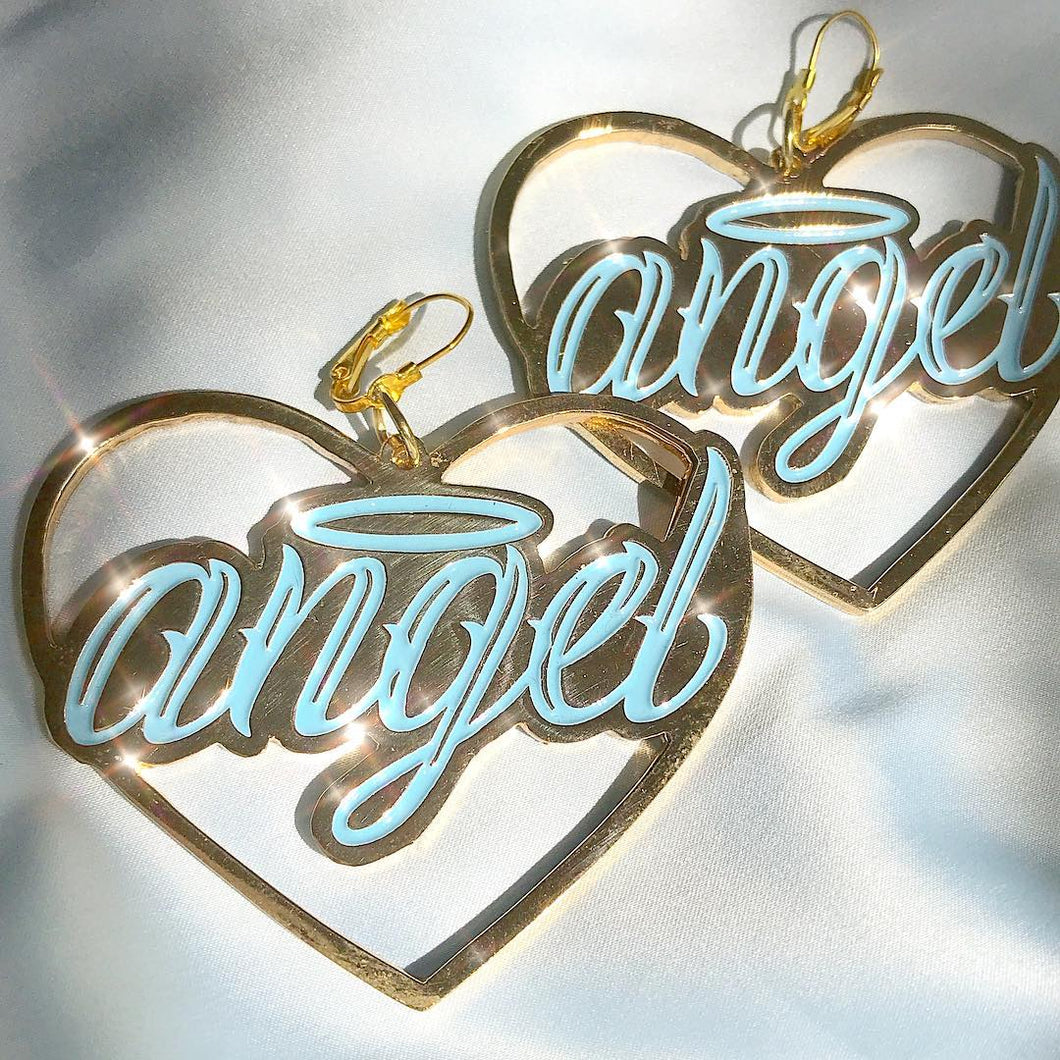 Angel earrings baby blue