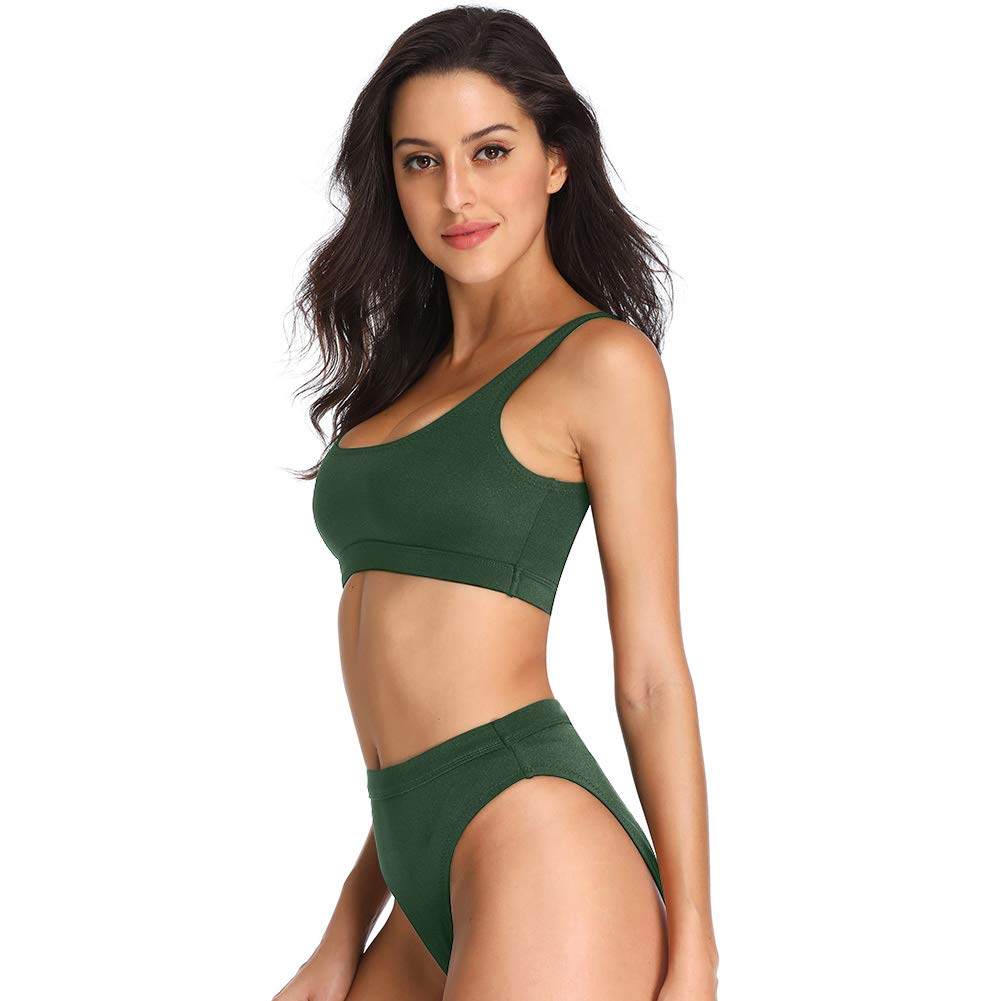 a3ed811608d Dixperfect Two Pieces Bikini Sets Swimsuit Low Scoop Top High Waisted  Cheeky Bottom (M,