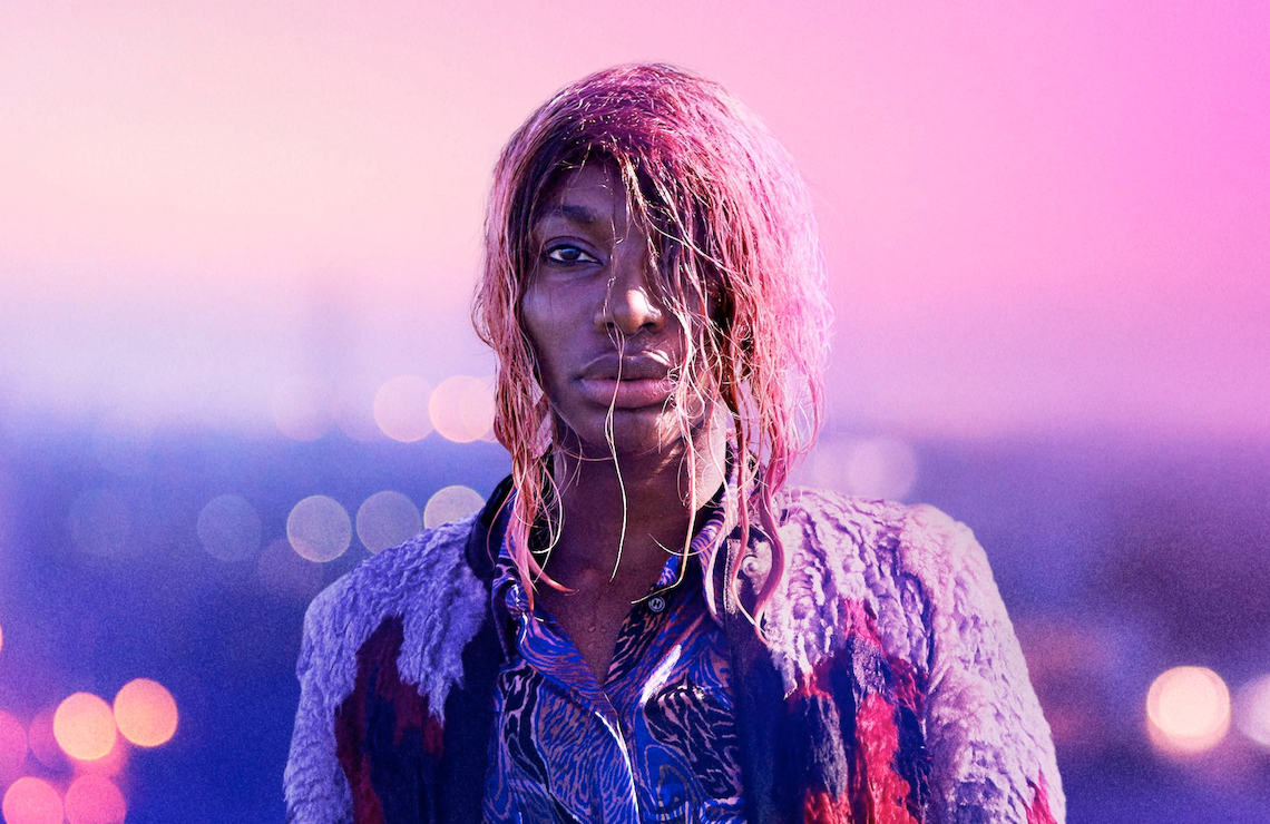"""Michaela Coel as Annabelle in """"I May Destroy You"""" with wet hair and purple background"""