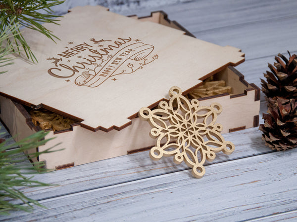 2-4 Days to USA Christmas Ornaments Wooden Snowflake Ornaments Set Christmas Decorations Holiday Ornaments Christmas Gifts Tree Decoration