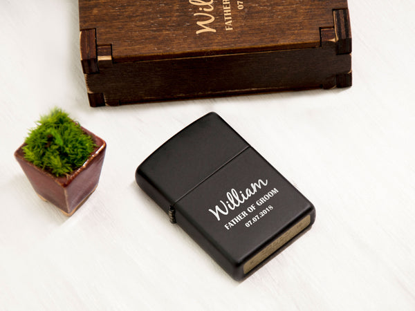 Personalized Lighter Groomsmen Gift Engraved Zippo Lighter Gift for Him Matte Black Zippo Lighter Wedding Gift for Groom Customized Lighter