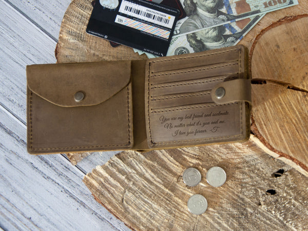 Custom Engraved Leather Mens Wallet