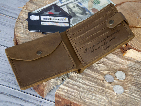 Engraved Bifold Leather Wallet for Men