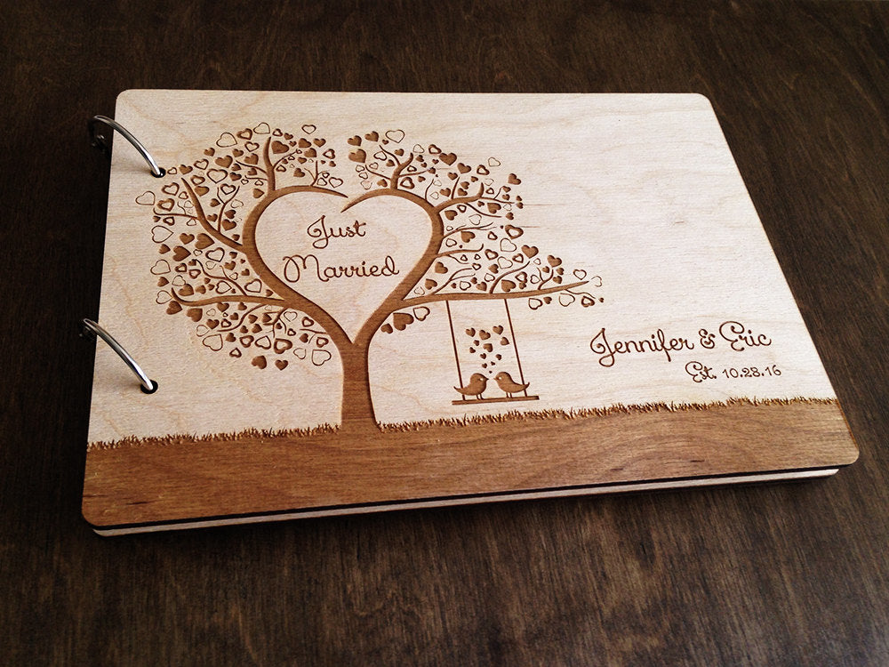 Wedding Guest Book Tree Heart Wedding Guestbook Bridal Shower Gift Wood Guest book Wedding Guestbook Alternative Personalized Wedding Gift