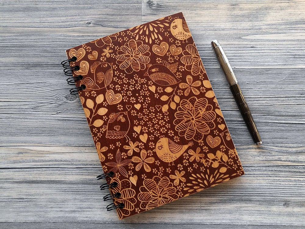 Wood Journal Birds, Engraved Notebook, Wooden Notebook, Custom Journal, Sketchbook, Spiral Notebook, Diary, Valentines Day Gifts for Her