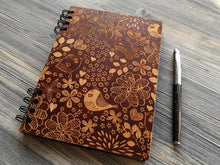 Load image into Gallery viewer, Wood Journal Birds, Engraved Notebook, Wooden Notebook, Custom Journal, Sketchbook, Spiral Notebook, Diary, Valentines Day Gifts for Her