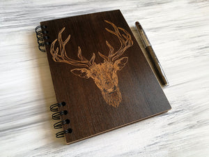 A5 Notebook Wood Journal Wooden Notebook Boyfriend Gifts for Christmas Hipster Deer Engraved Notebook Custom Notebook Christmas Gift for Him