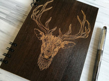 Load image into Gallery viewer, A5 Notebook Wood Journal Wooden Notebook Boyfriend Gifts for Christmas Hipster Deer Engraved Notebook Custom Notebook Christmas Gift for Him