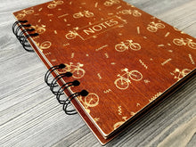 Load image into Gallery viewer, Wooden Notebook Bike Wood Cover Notebook A5 Wood Journal Engraved Notebook Custom Journal Bike Gift for Him Cyclist Gifts for Men Wood Diary