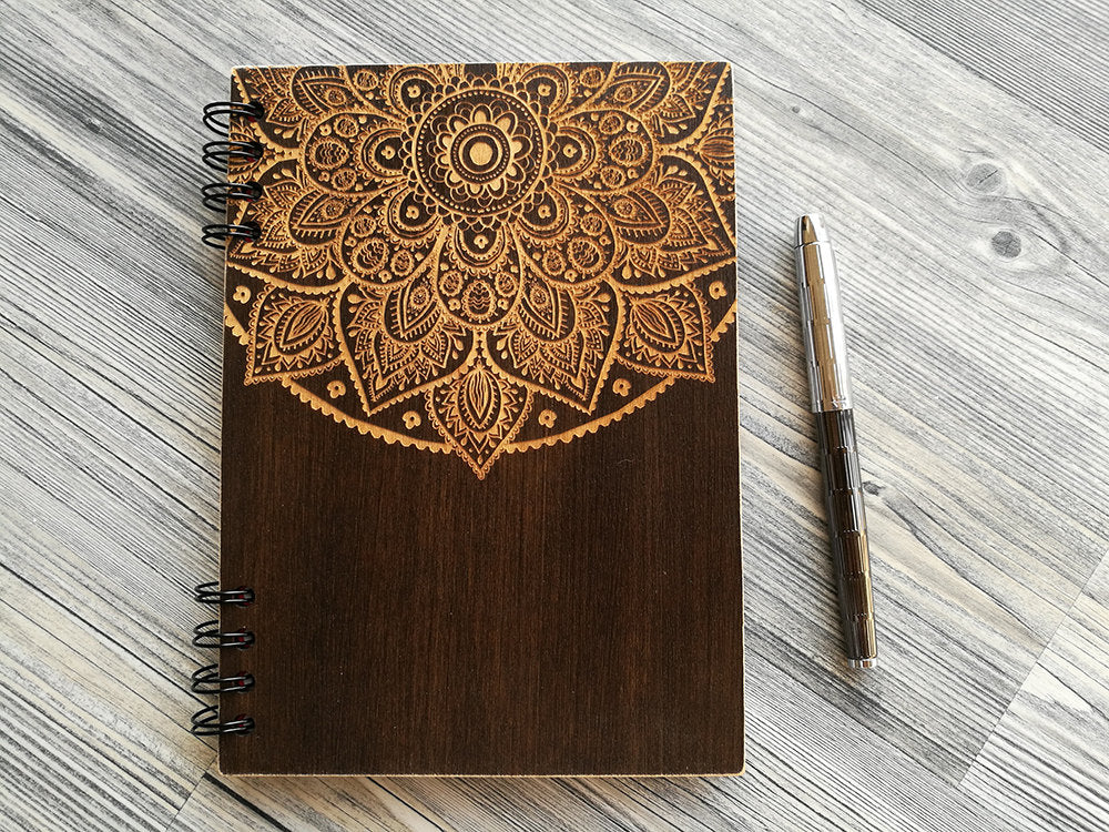 Mandala Notebook, Wooden Notebook, Christmas Gift for Friend, Wood Journal, Engraved Notebook, Custom Journal, Sketchbook A5, Gifts for Her