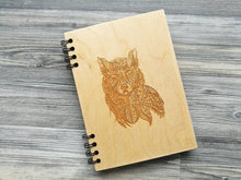 Load image into Gallery viewer, A5 Wood Journal Notebook Wooden Cover Notepad Personalized Journal Christmas Gift for Him Wolf Engraved Notebook Custom Notebook Sketchbook