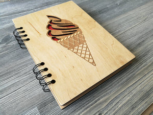A5 Notebook Ice Cream Wood Journal Wooden Notebook Engraved Notebook Custom Notebooks Sketchbook Valentines Day Gifts for Her Student Gift