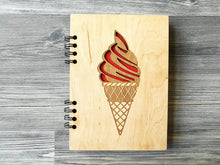 Load image into Gallery viewer, A5 Notebook Ice Cream Wood Journal Wooden Notebook Engraved Notebook Custom Notebooks Sketchbook Valentines Day Gifts for Her Student Gift