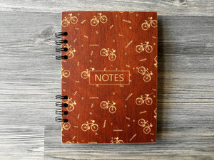 Wooden Notebook Bike Wood Cover Notebook A5 Wood Journal Engraved Notebook Custom Journal Bike Gift for Him Cyclist Gifts for Men Wood Diary
