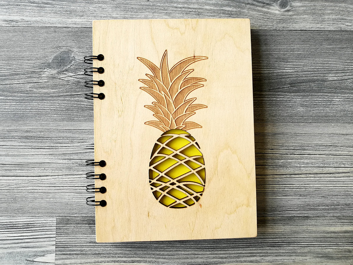 Personalised Notebook Pineapple, A5 Notebook, Writing Journal, Wood Journal, Wooden Notebook, Custom Notebooks, A6 Sketchbook, Gifts for Her