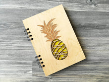 Load image into Gallery viewer, Personalised Notebook Pineapple, A5 Notebook, Writing Journal, Wood Journal, Wooden Notebook, Custom Notebooks, A6 Sketchbook, Gifts for Her