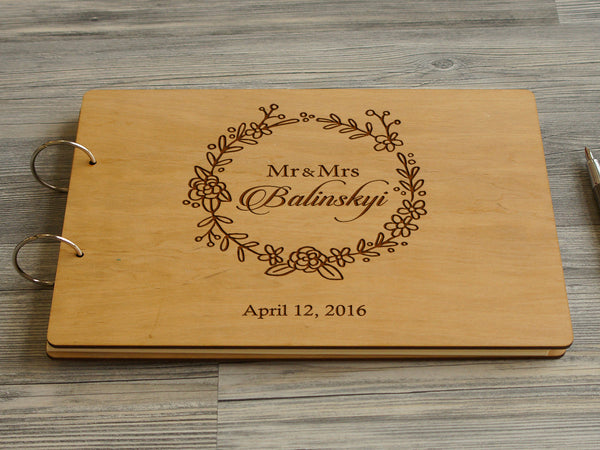 Wooden Wedding Guestbook Custom Wreath Guest Book Gift For Couple Rustic Guestbook Custom Wedding Photobook Engraved Guest Book Wedding Gift
