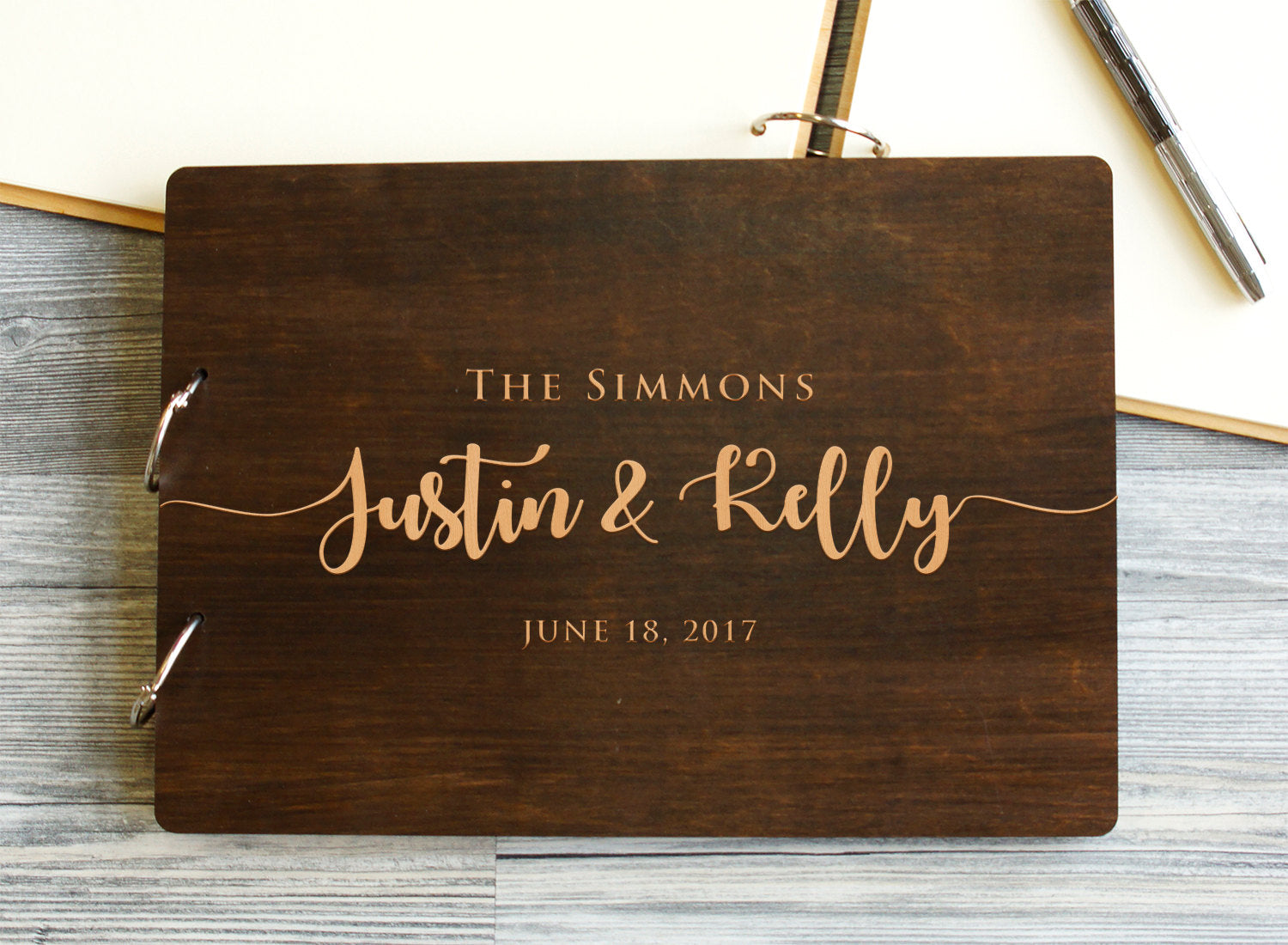 Wedding Guest Book, Rustic Guestbook, Wood Guest Book, Custom Guest Book, Wedding Calligraphy, Wedding Album, Gift for Couple, Wedding Gift