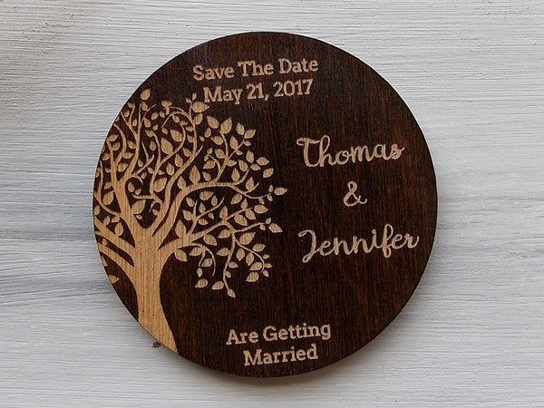 Wedding Tree Save the Date Magnets Rustic Wedding Invites Wedding Announcement Wood Wedding Magnets Boho Wedding Save the Date Custom Magnet