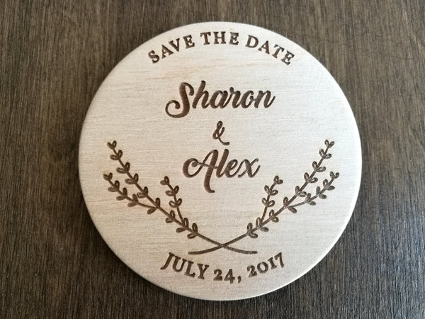 Rustic Wedding Save the Date Magnet, Wedding Announcement, Wood Save the Dates, Custom Floral Wedding Magnets, Wood Wedding Invintation