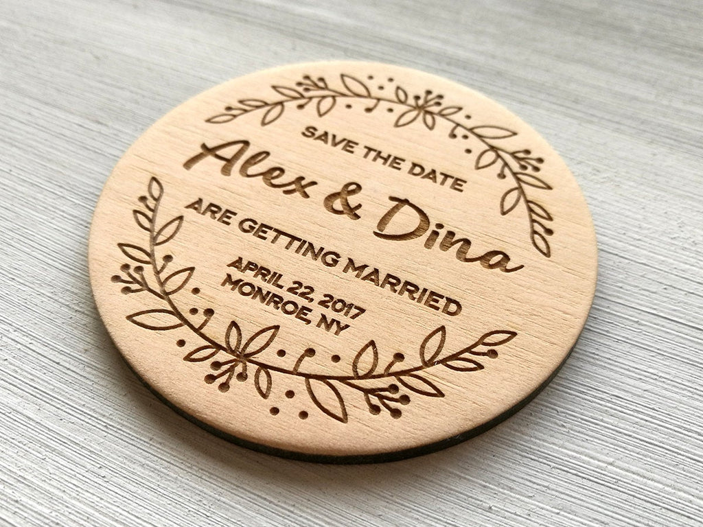 Custom Wedding Save the Date Magnet Rustic Wedding Save the Date Wooden Wedding Magnet Personalized Wedding Announcement Boho Wedding Invite