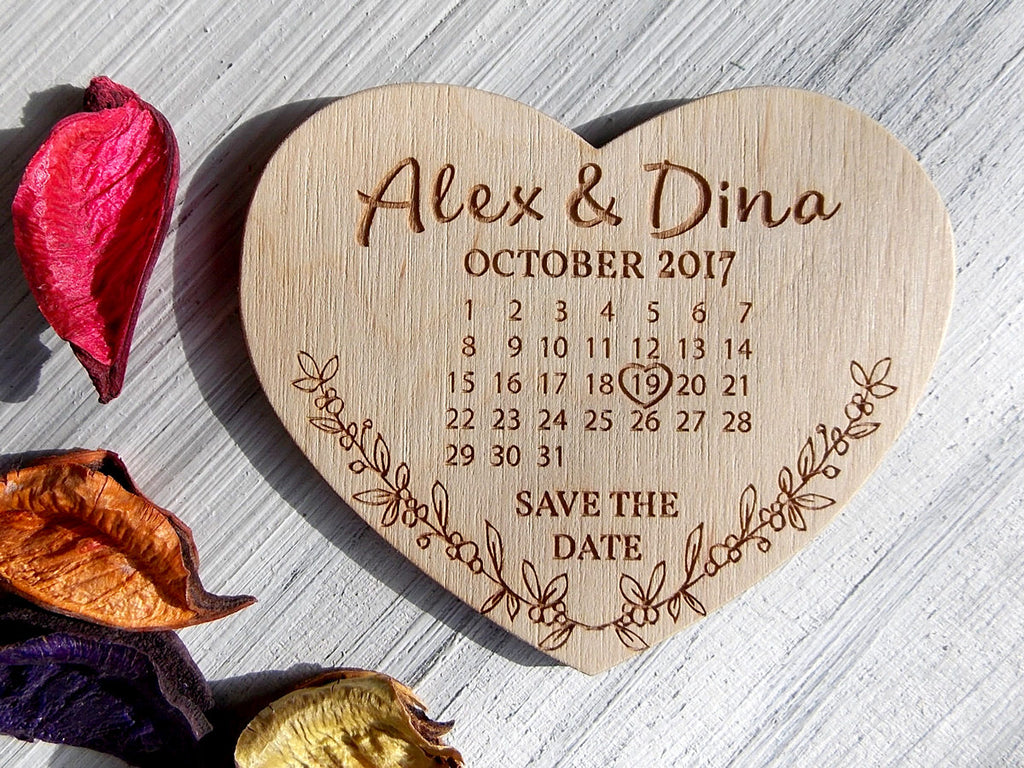 Save The Date Magnet Wedding Heart Save The Dates Wood Save The Date Calendar Rustic Wedding Save the Date Magnet Boho Wedding Hearts Magnet