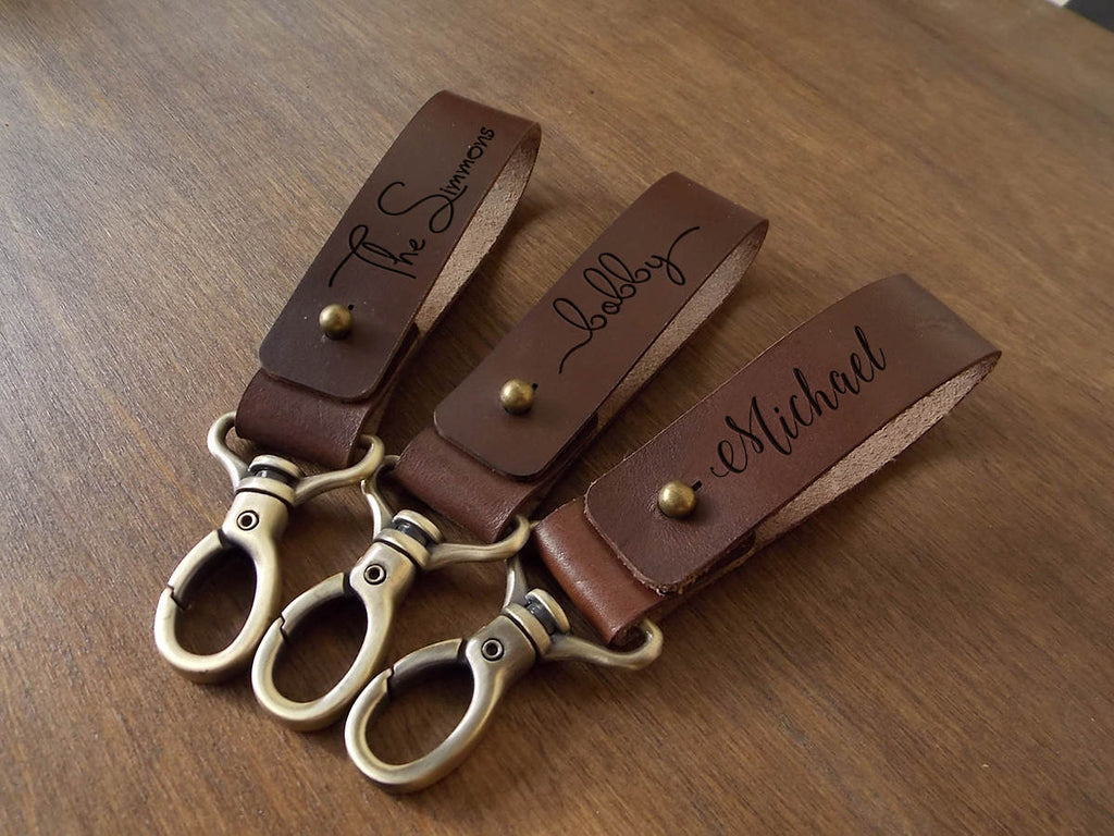 Personalized Gifts for Dad Custom Leather Keychain Fathers Day Gift from Daughter Dad Gifts Mens Keychain Gift from Wife Mens Gift Ideas