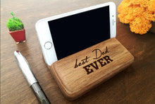Load image into Gallery viewer, Custom Fathers Day Gift Personalized Gift for Dad Present for Dad Gifts for Him Dad Birthday Gift Best Dad Ever Gift Wood Stand iPhone Stand