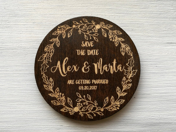 Rustic Wedding Invitations, Wooden Wedding Save the Date Magnets, Floral Wedding Magnets, Rustic Wedding Announcement, Custom Save the Dates