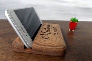 Phone Holder Wood Iphone Stand Fathers Day Gift Personalized Gift for Husband Gift for Dad Birthday Gift for Men Christmas Gifts for Him