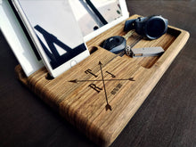 Load image into Gallery viewer, Mens Gift Ideas, Unique Gift For Husband, Anniversary Gifts For Men, Fathers Day Gift, Christmas Gift for Him,Wood Docking Station,Mens Gift