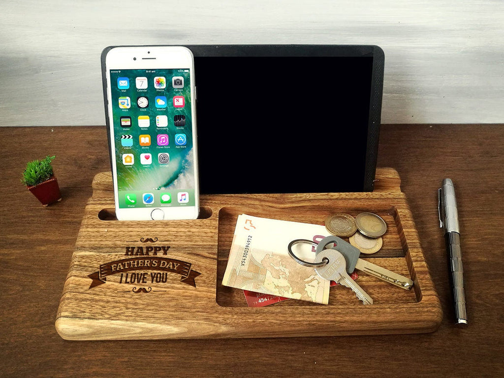 Fathers Day Gifts, Personalized Men Gifts, Christmas Gift for Dad, Wooden Phone Stand, iPhone iPad Docking Station, Wood Charging Station