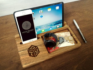 Mens Personalized, Gifts For Him, IPhone Dock, Mens Organizer, IPhone Docking Station, Wooden Docking Station, Gifts For Dad, Tablet Stand