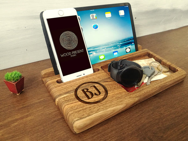 5th Anniversary Gift Wood Anniversary Wood Docking Station Mens Gift Ideas Christmas Gift for Him Unique Gift For Boyfriend Gift Birthday