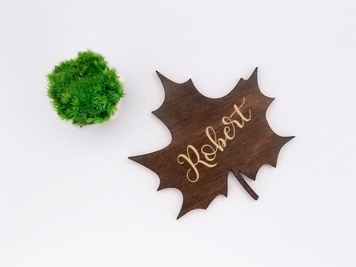 Leaf Place Cards Rustic Wedding Place Cards Laser Cut Name Wood Place Cards Personalised Wooden Names Name Place Cards Escort Card Ideas