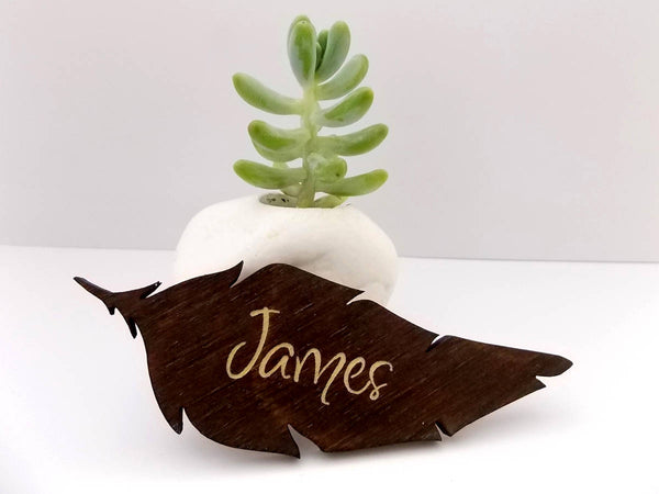 Name Place Cards Wedding Place Cards Feather Place Cards Wedding Table Names Laser Cut Names Wood Place Cards Wooden Names Escort Card Ideas