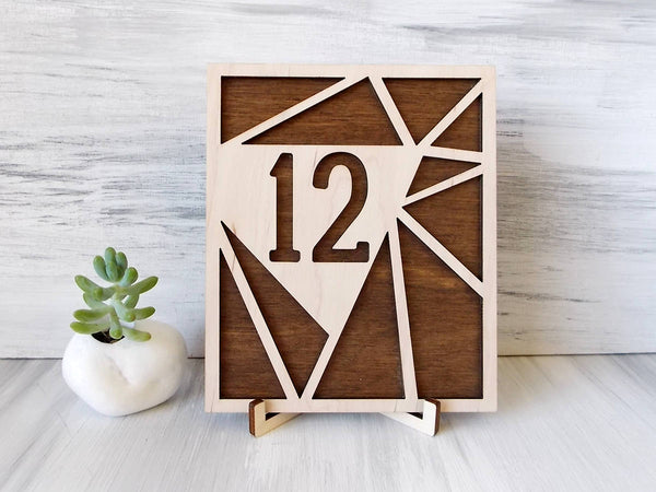 Geometric Table Numbers - Modern Wedding - Wooden Table Numbers - Rustic Wedding Decor - Summer Outdoors - Boho Wedding - Numbers With Base