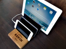 Load image into Gallery viewer, Multiple Charging Station for iPad iPhone Desk Organizer Walnut Engraving Docking Station Office Decor Mens Gift Ideas Mens Anniversary Gift