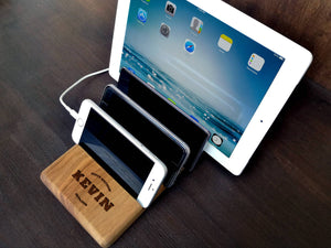 Multiple Charging Station for iPad iPhone Desk Organizer Walnut Engraving Docking Station Office Decor Mens Gift Ideas Mens Anniversary Gift