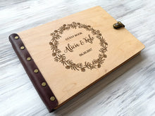 Load image into Gallery viewer, Wedding Guest Book Ideas Wreath Wedding Guestbook Custom Guest Book Wedding Guestbook Wood Guestbook Wedding Boho Guest Book Wedding Gift