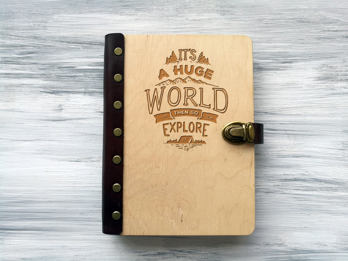 Travel Journal Adventure Book Wooden Notebook Leather Sketchbook Travel Gifts Notebook Leather Journal Personalized Journal Travel Gift Idea