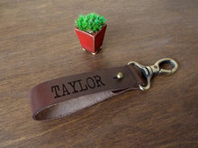 Load image into Gallery viewer, Personalized Custom Leather Keychain, Anniversary Gifts for men, Men Keychains, Leather Keyring, Leather Gifts for Him, Engraved Keychain