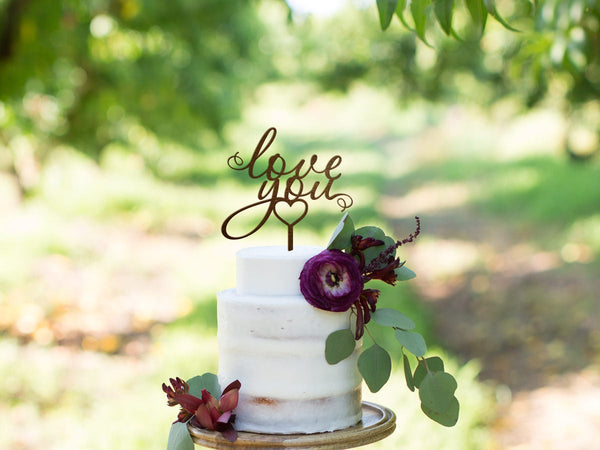Wedding Cake Topper Love You Cake Topper Initial Cake Topper Gold Cake Topper Rustic Wedding Cake Topper Summer Party Love Cake Topper Wood