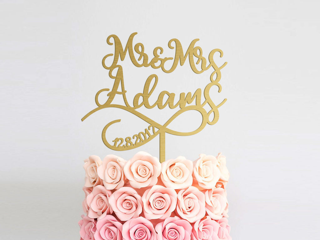 Mr and Mrs Custom Wedding Cake Topper Gold Wedding Cake Topper Rustic Personalized Wedding Cake Topper Engagement Cake Topper Couple Wedding