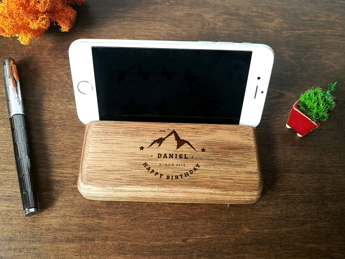 Personalized Gift for Him, 30th Birthday Gift, Anniversary Gifts for Him, Boyfriend Gift, Brother Gift, Walnut Phone Holder, IPhone Stand