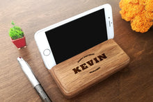 Load image into Gallery viewer, Personalized Gift for Him, 30th Birthday Gift, Anniversary Gifts for Him, Boyfriend Gift, Brother Gift, Walnut Phone Holder, IPhone Stand