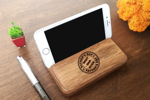Custom Fathers Day Gift Personalized Gift for Dad Present for Dad Gifts for Him Dad Birthday Gift Best Dad Ever Gift Wood Stand iPhone Stand