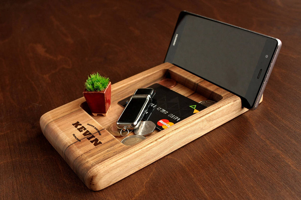Docking Station, Gifts for Men Birthday, Birthday Gift for Him, Mens Gift Ideas, Gift for Dad, Christmas Gift for Boyfriend, Wood Valet Tray