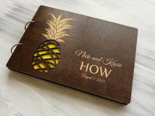 Load image into Gallery viewer, Pineapple Wedding Guest Book Hawaii Wedding Guestbook Tropical Wedding Guest Book Beach Wedding Guest Book Personalized Wedding Guest Book